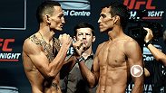 Watch the main event stars take the stage and step on the scale in Saskatoon. Then Max Holloway and Charles Oliveira come face-to-face one last time before battle on Sunday night on FOX Sports 1.