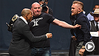UFC featherweight champion Jose Aldo and interim champion Conor McGregor met face-to-face once again at the GO BIG press conference at the MGM Grand in Las Vegas ahead of their Dec. 12 title fight at UFC 194.
