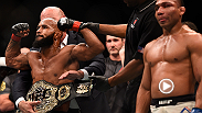 UFC flyweight champion Demetrious Johnson talks to UFC commentator Joe Rogan inside the Octagon after his seventh title defense about his unanimous decision victory over John Dodson at UFC 191.