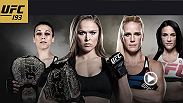 UFC champions Ronda Rousey and Joanna Jedrzejczyk take the stage with their challengers Holly Holm and Valerie Letourneau for the UFC 193 ticket on-sale press conference.