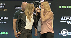 UFC champions Ronda Rousey and Joanna Jedrzejczyk take the stage with challengers Holly Holm and Valerie Letourneau for the UFC 193 press conference from Eithad Stadium in Melbourne, Australia.