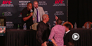 Flashback to UFC 187: Cormier vs. Johnson when Ryan Bader confronted Daniel Cormier mid-press conference.
