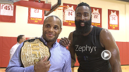 Go behind the scenes as Daniel Cormier, Tyron Woodley, Rashad Evans and other UFC 192 stars meet the Houston Rockets.
