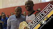 Rashad Evans shows off his comical side while opponent Ryan Bader opts to stay out of trash talking. Evans, Tyron Woodley and Daniel Cormier take a trip to the Houston Rockets practice.
