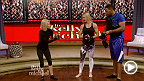 New UFC women's bantamweight champion Holly Holm continued her victory press tour on Monday, making a stop at the Kelly and Michael show. Holm demonstrates her iconic KO head kick that finished Ronda Rousey at UFC 193.