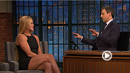 UFC women's champion Holly Holm appeared on the Late Night with Seth Meyers show to talk about her historic win vs. Ronda Rousey at UFC 193.