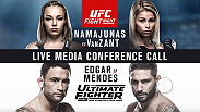 Listen to the media call with the main event headliners of UFC Fight Night: Namajunas vs. VanZant and The Ultimate Fighter Finale: Team McGregor vs. Team Faber  live on Monday, November 30 at 4pm/1pm ETPT.