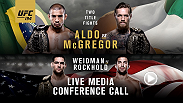 Listen to the media call with the main and co-main event headliners of UFC 194: Aldo vs. McGregor live on Wednesday, December 2 at 10pm GMT.