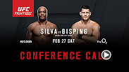Listen to the media call with the main event headliners of UFC Fight Night: Silva vs. Bisping live on Tuesday, December 29 at 12pm/9am ETPT.