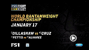 TJ Dillashaw will defend his bantamweight belt against Dominick Cruz, who never lost as the former 135-pound champion, on Jan. 17 on FS1 live from Boston.