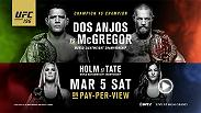 UFC lightweight champion Rafael dos Anjos defends his title in a historic champion vs. champion bout against featherweight champ Conor McGregor. Also at UFC 196, Miesha Tate challenges new UFC women's bantamweight champion Holly Holm in her first defense.