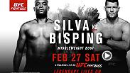"Anderson Silva returns the Octagon for the long awaited matchup between the ""Spider"" and Michael Bisping. They'll square off in London on Feb. 27 live and streaming exclusively on UFC FIGHT PASS."