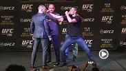 Watch as fireworks erupt during the faceoffs at the UFC 196 press conference between Conor McGregor and Nate Diaz, and a more civil encounter between women's bantamweight champion Holly Holm and Miesha Tate