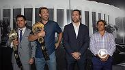 UFC champions Luke Rockhold and Dominick Cruz joined their bitter rivals, Chris Weidman and Urijah Faber, to tour the famous 'Fabulous' Forum in Inglewood, California to get an early look at where they'll battle at UFC 199.