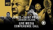 In advance of UFC 197: Jones vs. Saint Preux, UFC will host a media conference call with the main and co-main event stars on Friday, April 15 at 11:00 a.m. PT/2:00 p.m. ET.