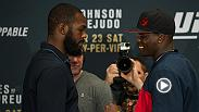 Watch the faceoffs from UFC 197 media day, featuring light heavyweighs Jon Jones and Ovince Saint Preux as well as the co-main event stars, Demetrious Johnson and Henry Cejudo.