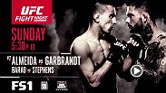 Fight Night Las Vegas kicks off Sunday on FS1 at 9pm/6pm ETPT.  Don't miss the headlining fight between Cody Garbrandt and Thomas Almeida, plus Renan Barao vs. Jeremy Stephens and more.