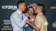 Watch all the face offs from Thursday's UFC 199 Media Day face offs including staredowns between Max Holloway-Ricardo Lamas, Dan Henderson-Hector Lombard, Dustin Poirier-Bobby Green, Brian Ortega-Clay Guida, and more.