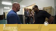 Stars including Brock Lesnar, Mark Hunt, Miesha Tate, Daniel Cormier and Jon Jones attend the press conference. But the card is dealt a massive blow when Dana White delivers a bombshell – and the fighters reel from the impact at Thursday's open workouts.
