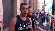 The Jimmy Kimmel Live show wanted to have some fun so they went out onto the street and talked to a bunch of fans who think Conor McGregor is going to beat Nate Diaz at UFC 202, while they were talking smack about Diaz, he snuck up behind them.