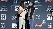 Watch as the stars of UFC 205 face-off at Media Day, including former champion Miesha Tate vs Raquel Pennington, former champion Chris Weidman vs Yoel Romero, Kelvin Gastelum vs Donald 'Cowboy' Cerrone and more.