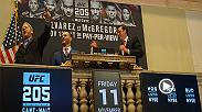 UFC heavyweight champion Stipe Miocic, Hall of Famer Matt Hughes and Bruce Buffer, the Voice of the Octagon, rang the closing bell on a record high day at the New York Stock Exchange as part of the organization's New York State debut.