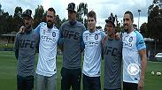 Fight Night Melbourne stars Robert Whittaker, Kyle Noke and Jake Matthews kicked the soccer ball around with some of the players from Melbourne FC ahead of the action inside the Octagon Saturday live and free on FS1.