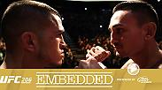 Max Holloway and Anthony Pettis answer questions at media day as Donald Cerrone and Matt Brown share a tense faceoff. Anthony Pettis is unable to make the 145-pound limit. Later that day, the fighters face off one final time.