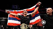 Watch Max Holloway and Anthony Pettis in the Octagon after their interim featherweight title bout at UFC 206. Holloway earned a TKO victory over Pettis to claim the belt.