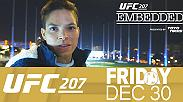 Amanda Nunes enjoys attention from fans and reporters. Dominick Cruz and his dog Dojo stay busy on a shopping expedition. Cody Garbrandt reveals a fingernail injury, while Nunes and girlfriend Nina Ansaroff try their hands at golf.