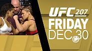 Watch the face-offs from Thursday's UFC 207 official weigh-in, featuring Amanda Nunes, Ronda Rousey, Dominick Cruz and Cody Garbrandt.