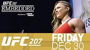 Ronda Rousey says hello to Dana White. The weigh-in later hosts two memorable staredowns, as Dominick Cruz and Cody Garbrandt have another heated exchange. Plus, Rousey makes her first public appearance of the week.