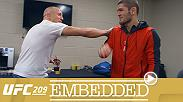 Tyron Woodley cuts weight and visualizes victory in his upcoming title defense. Khabib Nurmagomedov drills in the Ultimate Fighter training facility, while  Tony Ferguson chats with fans online. And behind the scenes, Georges St-Pierre puts on UFC gloves.