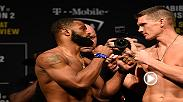 Watch the face-offs from Friday's UFC 209 weigh-in, featuring main event fighters Tyron Woodley and Stephen Thompson.