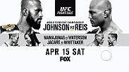 Watch Demetrious Johnson attempt to defend his flyweight title against Wilson Reis live on FOX on April 15. Also on the main card is Rose Namajunas vs Michelle Waterson and Jacare Souza vs Robert Whittaker.