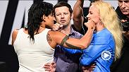 Watch the faceoffs from Los Angeles where the stars of UFC 213 had another staredown ahead of the big fights next week. Watch Amanda Nunes-Valentina Shevchenko, Yoel Romero-Robert Whittaker and more in the video.