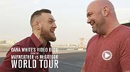 On Ep. 1 of Dana White's latest video blog, the UFC President's jet lands right next to Conor McGregor, and the two titans converse on the tarmac. Next stop is the FOX lot, where Dana does media and shares Conor's prediction for the fight.