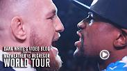 After an initial staredown and some harsh words from both headliners, McGregor and Mayweather square off face to face again. As the war of words continues, White is reassured by none other than Mayweather that the stars won't come to blows... yet.