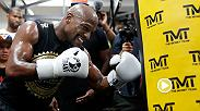 Floyd Mayweather put on a workout for assembled media and answered questions Thursday at his own personal Media Workout ahead of his historic boxing match against UFC two-weight world champion Conor McGregor on Aug. 26 at T-Mobile Arena in Las Vegas.