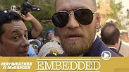 The grand arrivals turns into a wild event as Conor McGregor's camp nearly scuffles with Floyd Mayweather and The Money Team. The mayhem continues when McGregor is confronted by embittered former sparring partner Paulie Malignaggi.