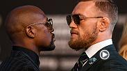 Floyd Mayweather and Conor McGregor face off after their final press conference.