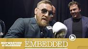 A serious Conor McGregor chooses suits and situates his son in the Rolls ahead of a press conference. Dana White and Floyd Mayweather arrive early at the MGM and do media. At the dais, both fighters vow that they will be victorious on Saturday night.