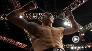 Li Jingliang reacts in the Octagon after his win in the co-main event of Fight Night Shanghai.