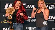 UFC 219 stars Cris Cyborg and Holly Holm face-off before their UFC women's featherweight title fight at UFC 219 on Dec. 30 live on Pay Per View.