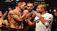 Watch UFC 218 stars Max Holloway and Jose Aldo face-off at Friday's official weigh-in from Detroit, Michigan.