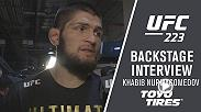 Khabib Nurmagomedov captured the undisputed title at UFC 223 and spoke about his win over Al Iaquinta, a potential superfight against Georges St-Pierre, lightweight contenders Conor McGregor and Tony Ferguson and more backstage.
