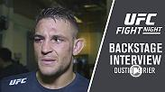 Dustin Poirier talks backstage after his win over Justin Gaethje at Fight Night Glendale.