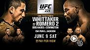 UFC 225 features two title fights between champion Robert Whittaker and Yoel Romero headlining the event in Chicago on June 9. Rafael dos Anjos and Colby Covington battle for the interim welterweight belt & CM Punk returns to face Mike Jackson.