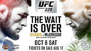 The wait is finally over as former two-division champion Conor McGregor returns to the Octagon to face undefeated lightweight champion Khabib Nurmagomedov in an epic main event that headlines UFC 229 on October 6 live on Pay-Per-View.