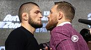 Watch Khabib Nurmagomedov and Conor McGregor faceoff for the first time ever at Thursday's press conference in Radio City Music Hall.